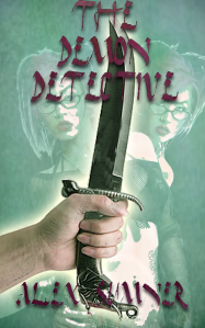 "Cover artwork for ""The Demon Detective,"" ceremonial knife"