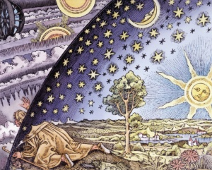 Astrologer poking his head out of the sphere of fixed stars to see what lies beyond