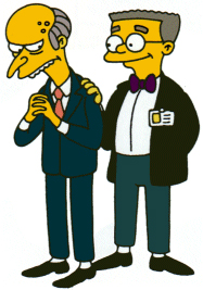 Rupert Murdoch and his son James (aka Burns & Smithers from the Simpsons)